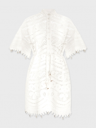 SHELLY EMBROIDED SHIRT DRESS